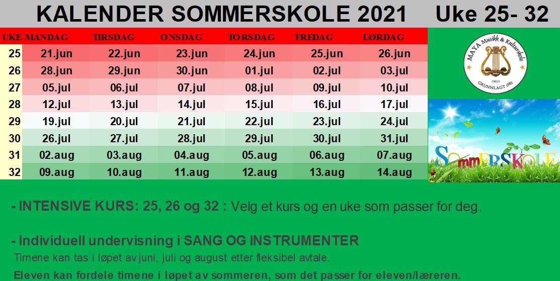 Kalender sommerskole 2021